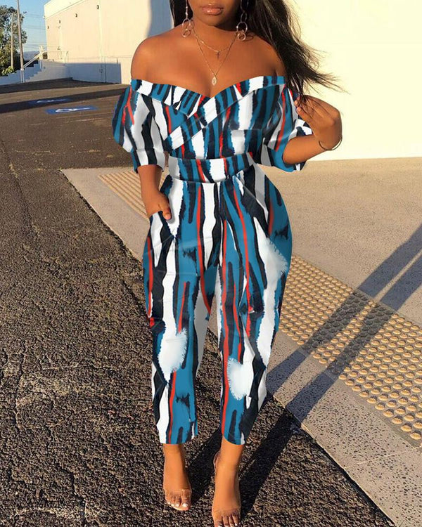 Off Shoulder Colorful Print Jumpsuit