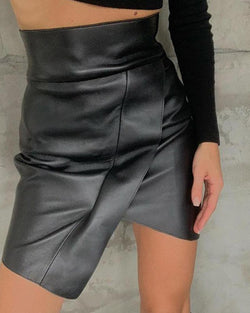 Asymmetrical Faux Leather Mini SKirt