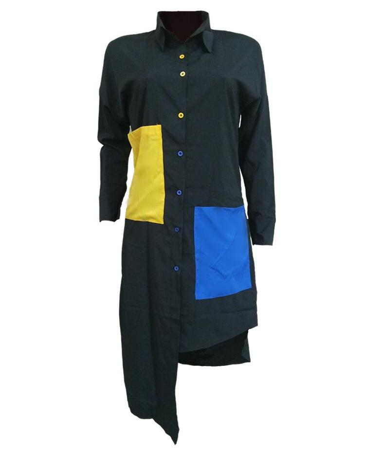 Colorblock Multicolor Button Irregular Shirt Dress