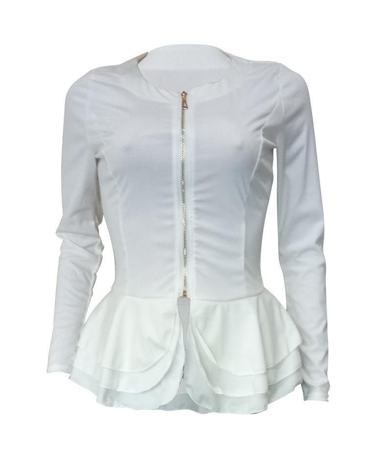 Layered Ruffles Zip Up Blouse