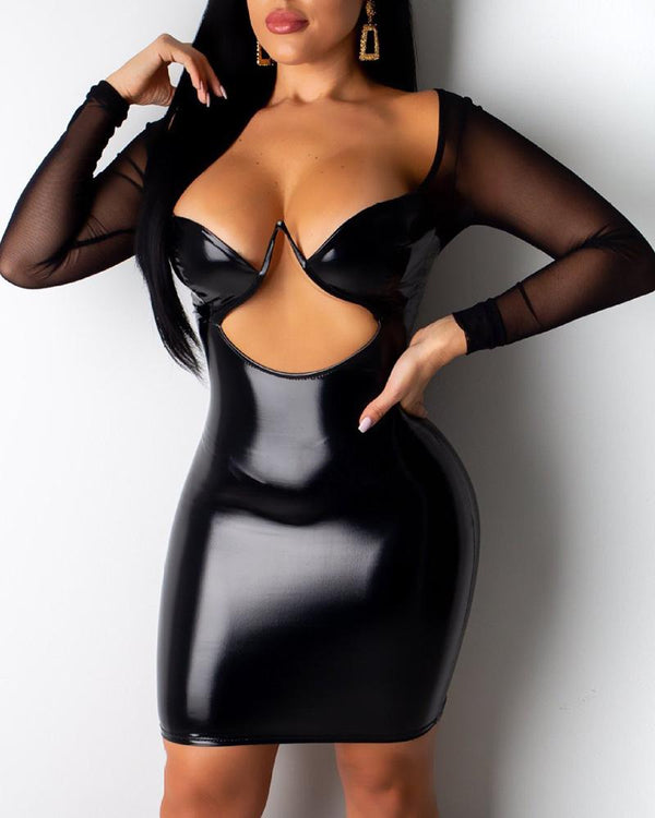 Cut Out Sheer Mesh Sleeve Coated PU Bodycon Dress