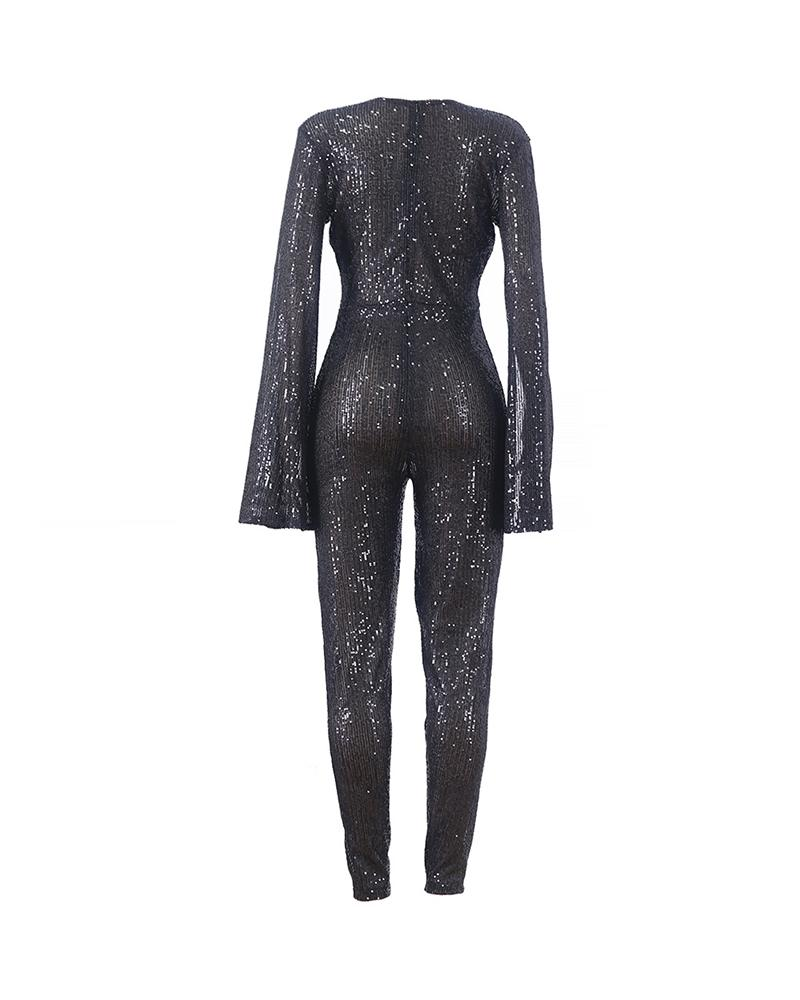 Glitter Plunge Batwing Sleeve Jumpsuit