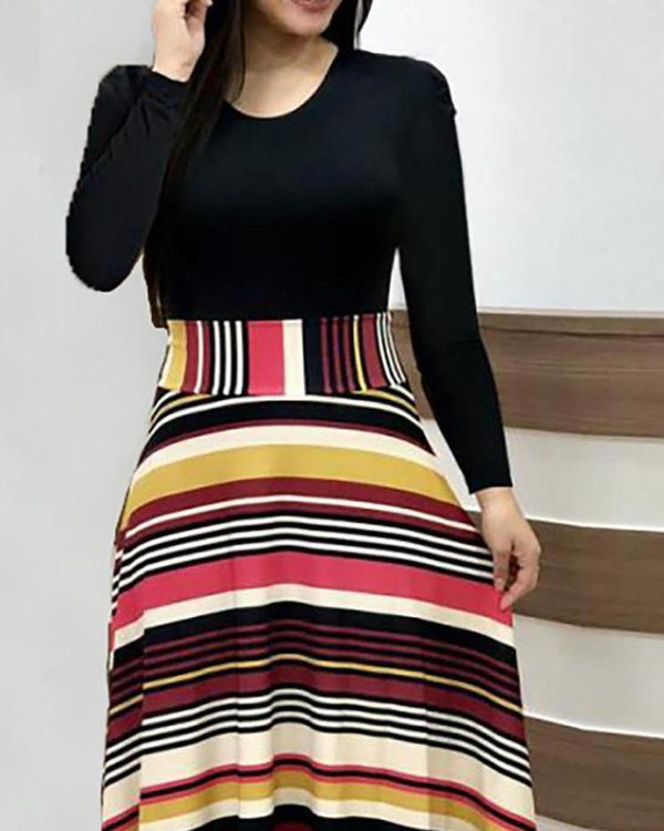 O Neck Long Sleeve Striped Splicing Long Dress