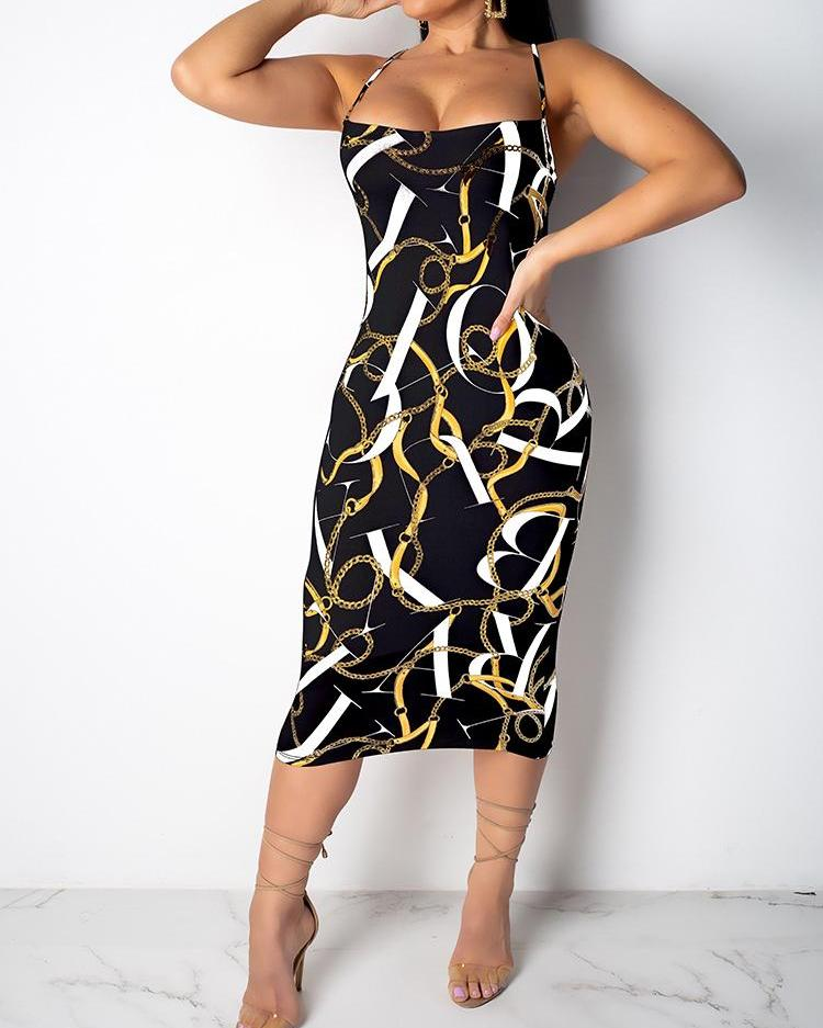 Chain Print Crisscross Backless Midi Dress