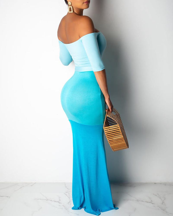 Off Shoulder Gradient Color Maxi Dress