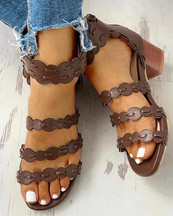 Solid Ankel Bucked Chunky Heeled Sandals