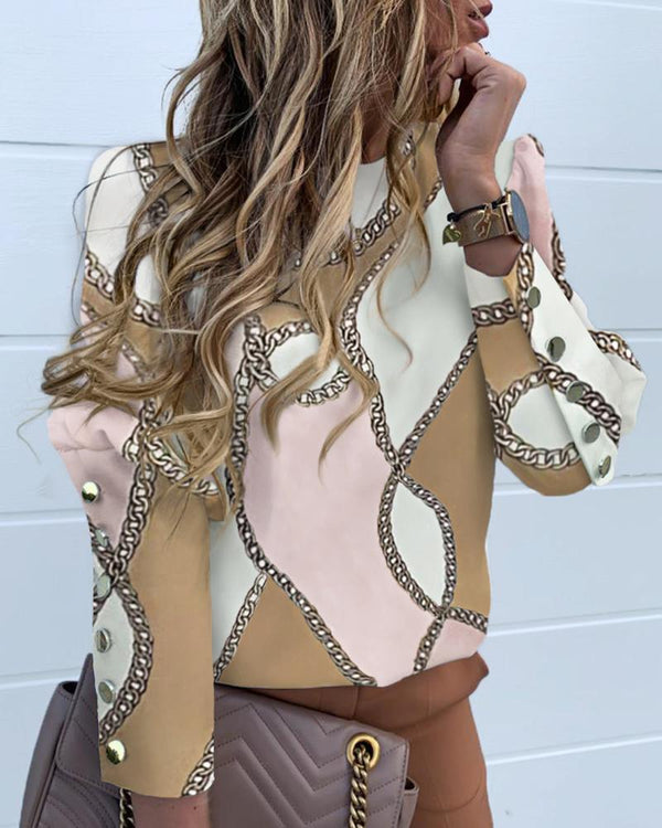 Chain Print Colorblock Long Sleeve Blouse