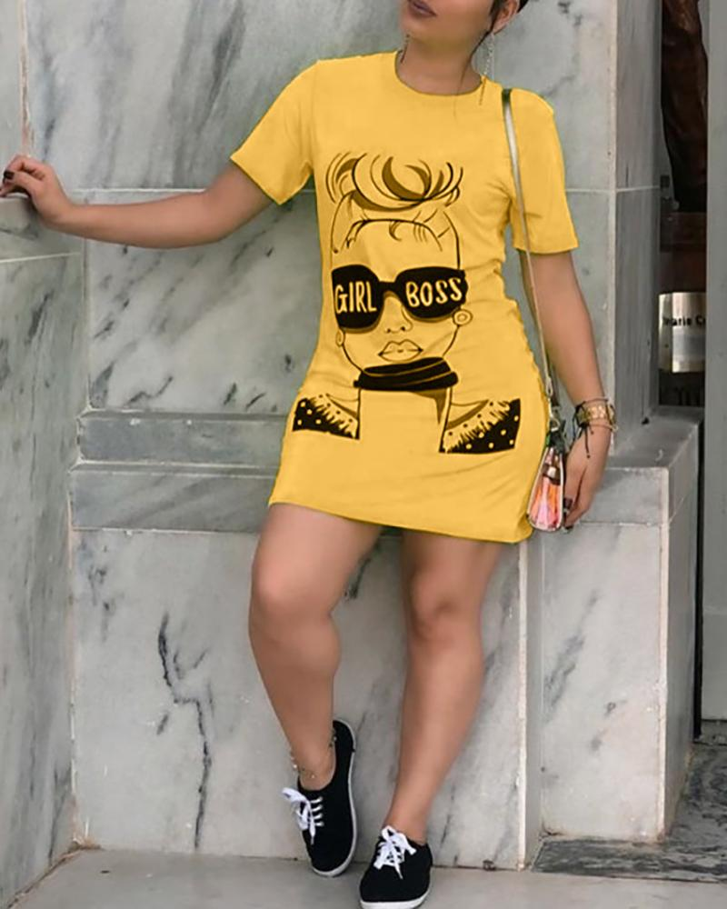 Figure Print Short Sleeve T-Shirt Dress
