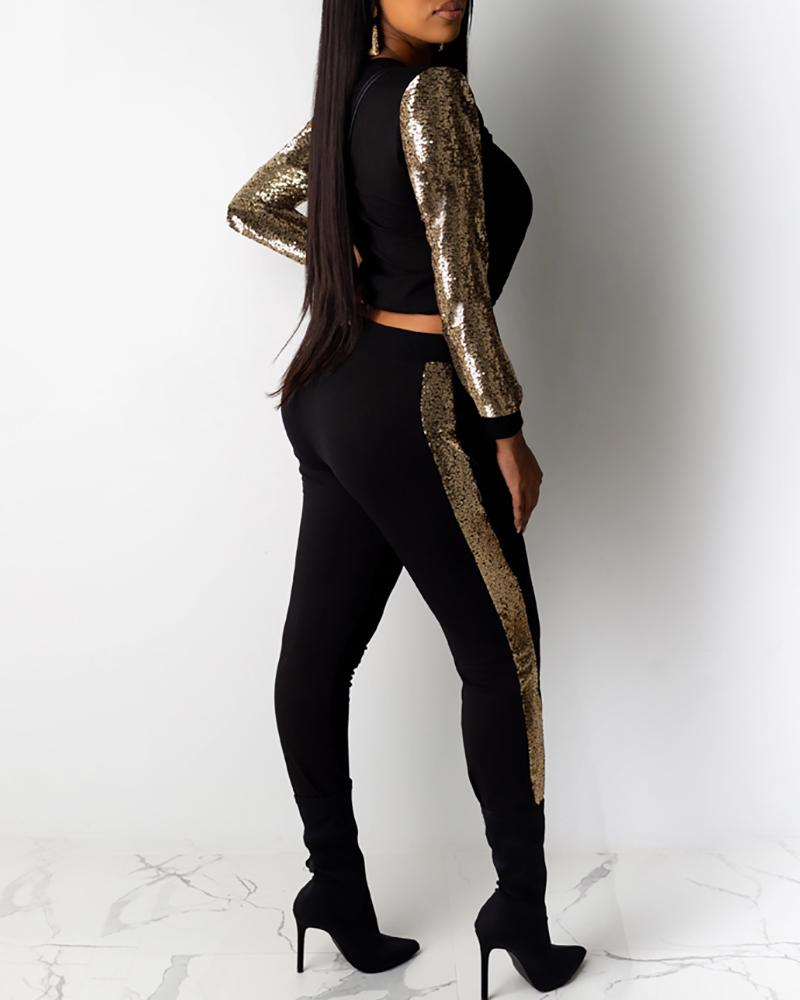 Sequins Long Sleeve Top & Pants Sets