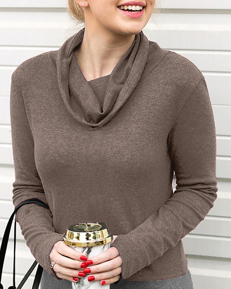 Cowl Neck Colorblock Casual Blouse
