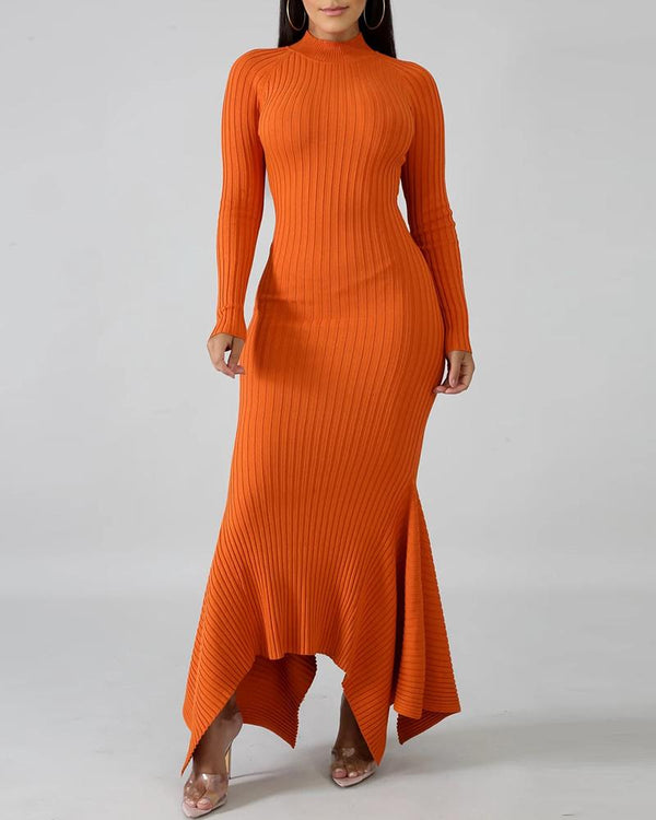 Solid Mock Neck Ribbed Irregular Hem Sweater Dress