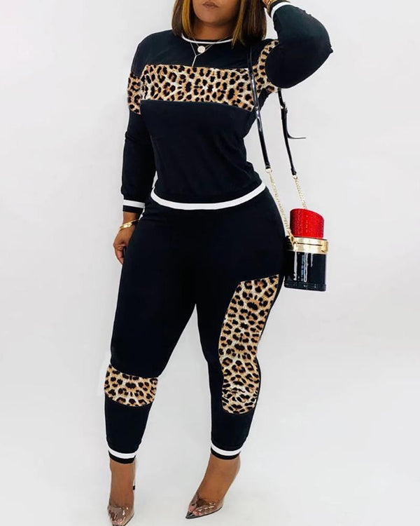 Solid Patchwork Leopard Long Sleeve Top & Pant Sets