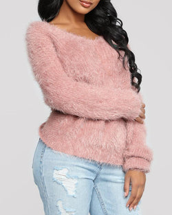 Backless Twisted Design Knitting Fluffy Sweater