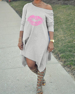 Long Sleeve Lip Print Irregular Casual Dress