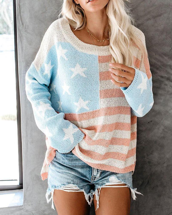 2019 autumn and winter new color knitted long-sleeved stitching sweater top