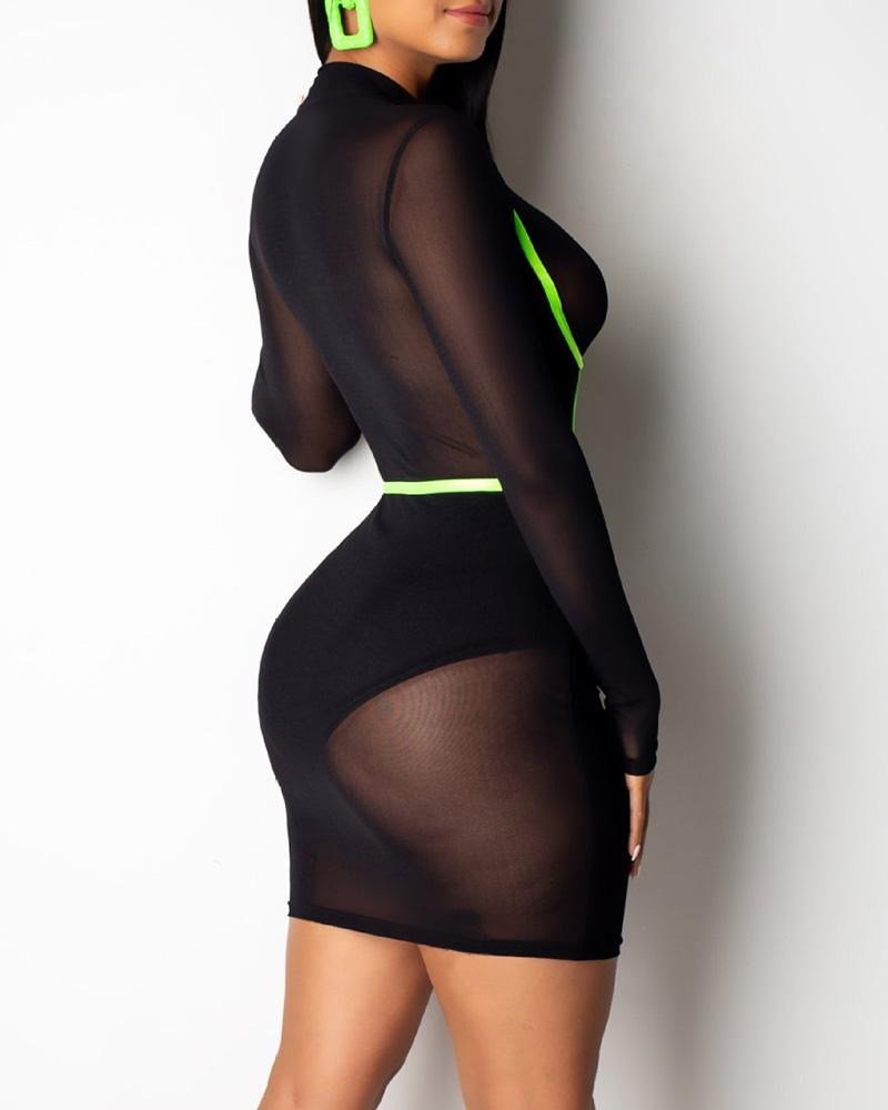 See Through Mesh Contrast Binding Bodycon Dress