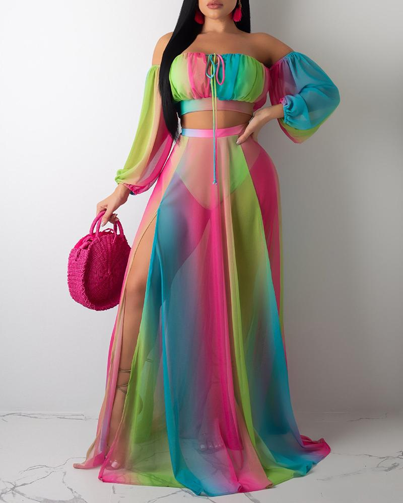 Off Shoulder Colorful Mesh Top With Skirt Sets