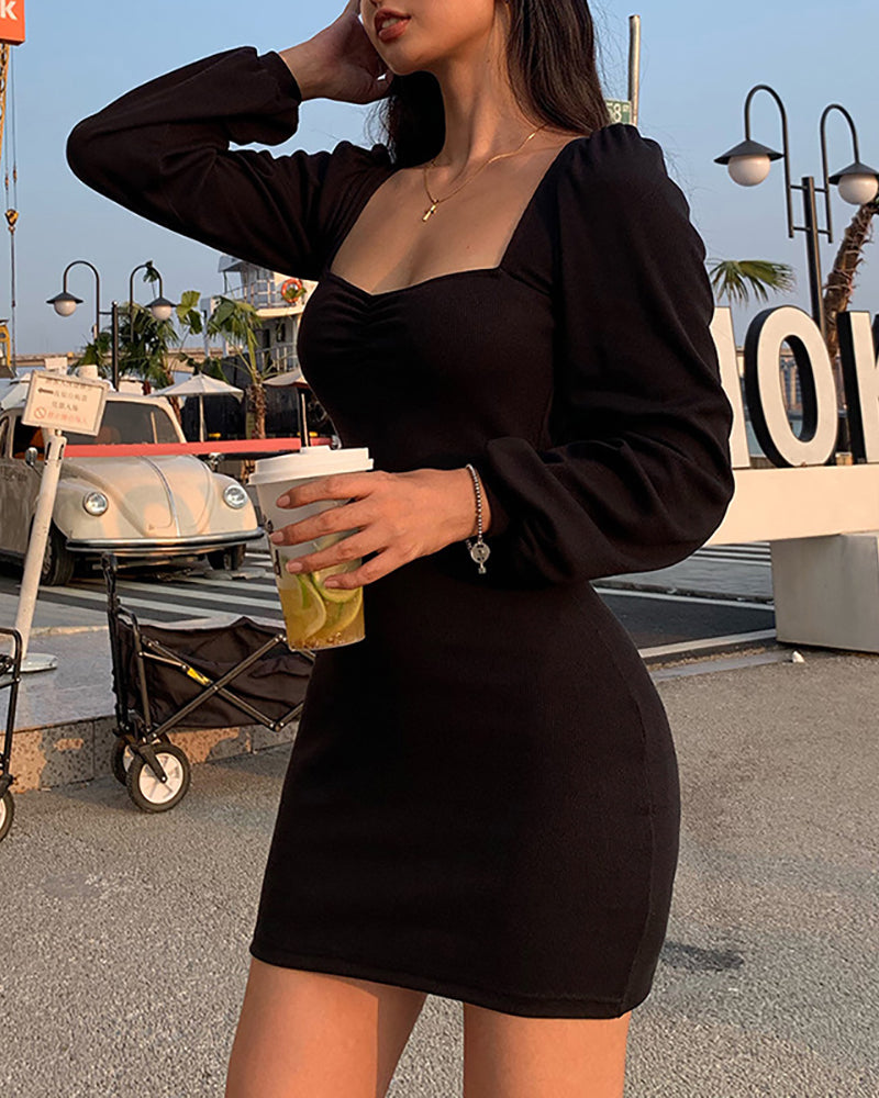 Solid Square Neck Puff Sleeve Twisted Bodycon Dress