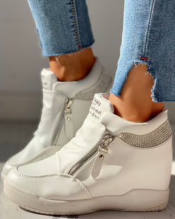 Zippper Studded Platform Wedges Casual Sneakers