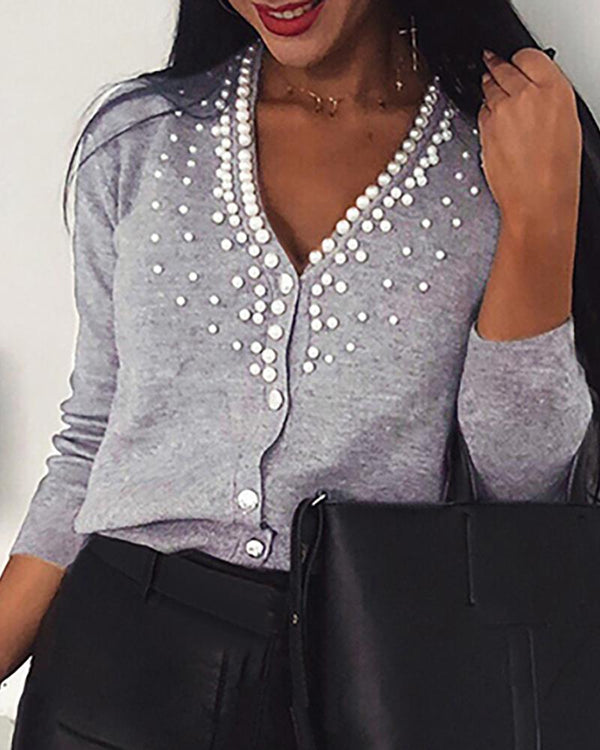 Beaded V Neck Buttoned Long Sleeve Casual Cardigan
