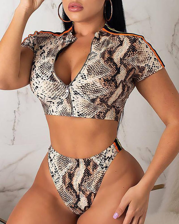 Snakeskin Print Short Sleeve Zipper Bikini Set