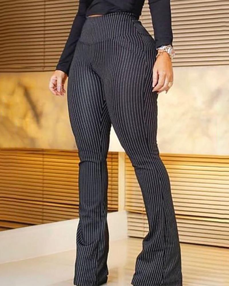 Striped High Waist Bell-Bottom Pants