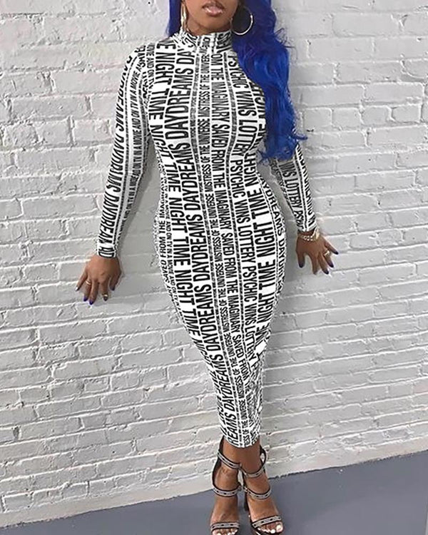 High Neck Letter Print Long Sleeve Dress