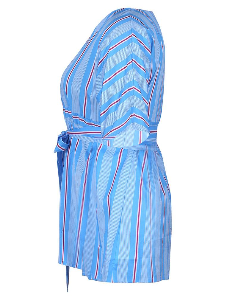 Striped V-Neck Oversize Casual Dress