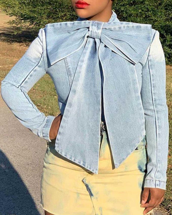 Solid Tied Neck Bowknot Design Denim Blouse
