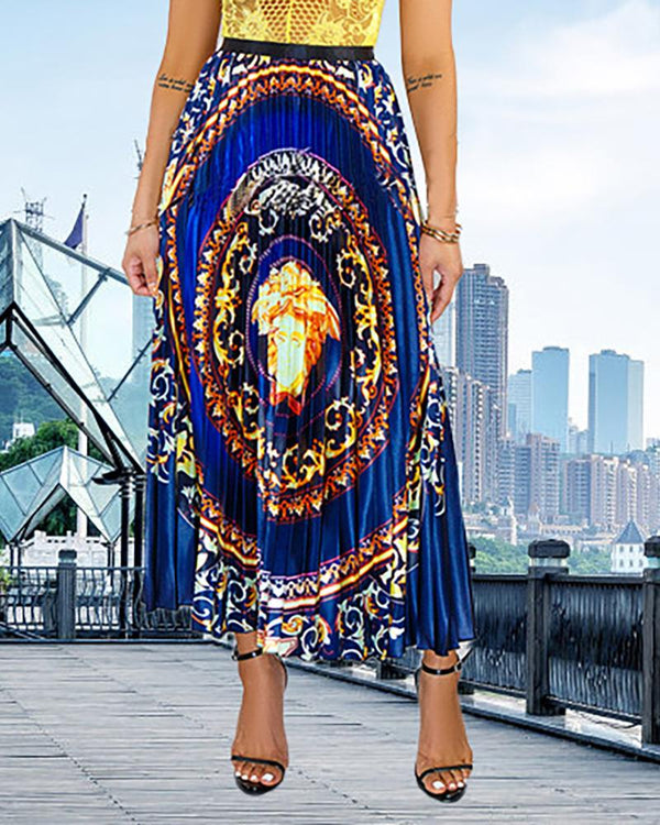 High Waist Baroque Print Pleated Skirts