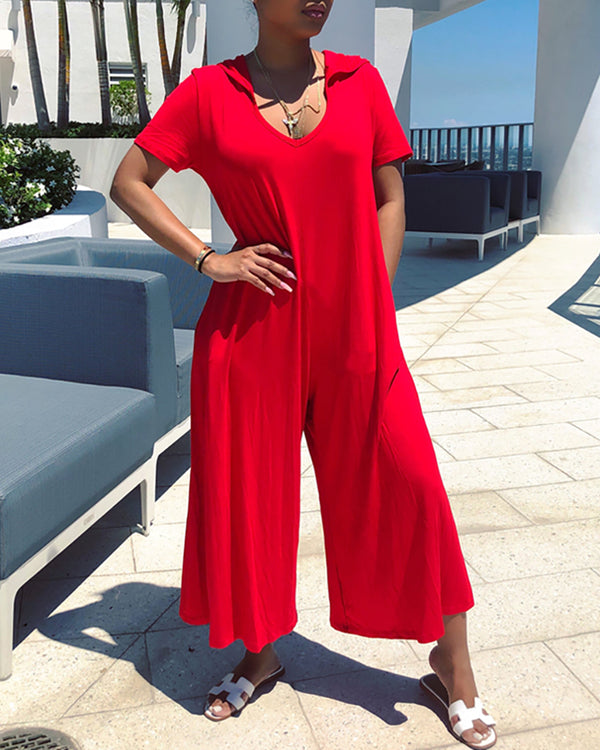 Hooded Short Sleeve Wide Leg Jumpsuit