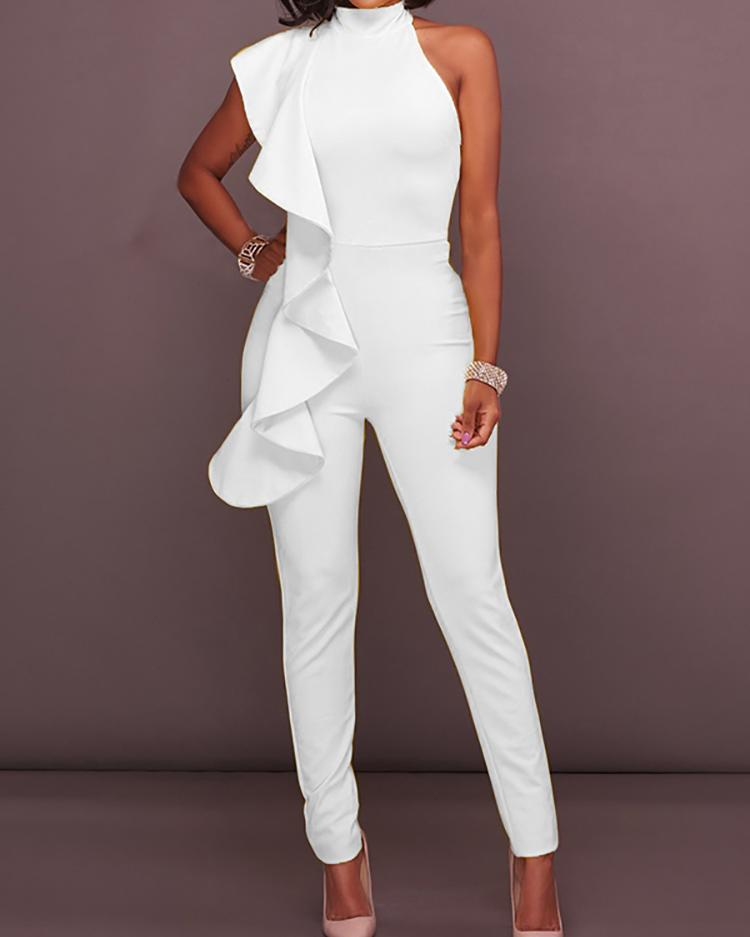 Splicing Ruffled Mock Neck Jumpsuit