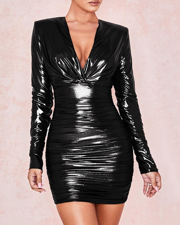 Glitter V-Neck Ruched Bodycon Dress