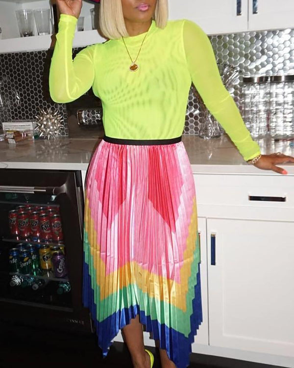 Colorful Chevron Stripe Pleated Skirt