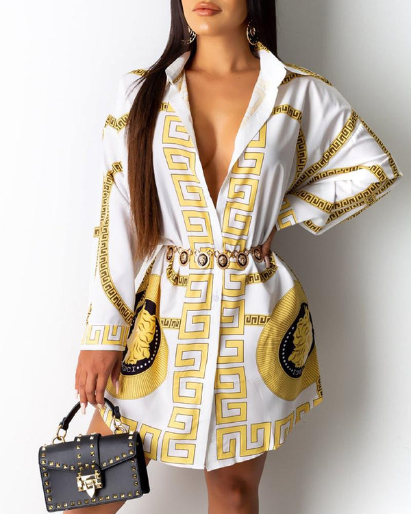 Totem Print Long Sleeve Shirt Dress