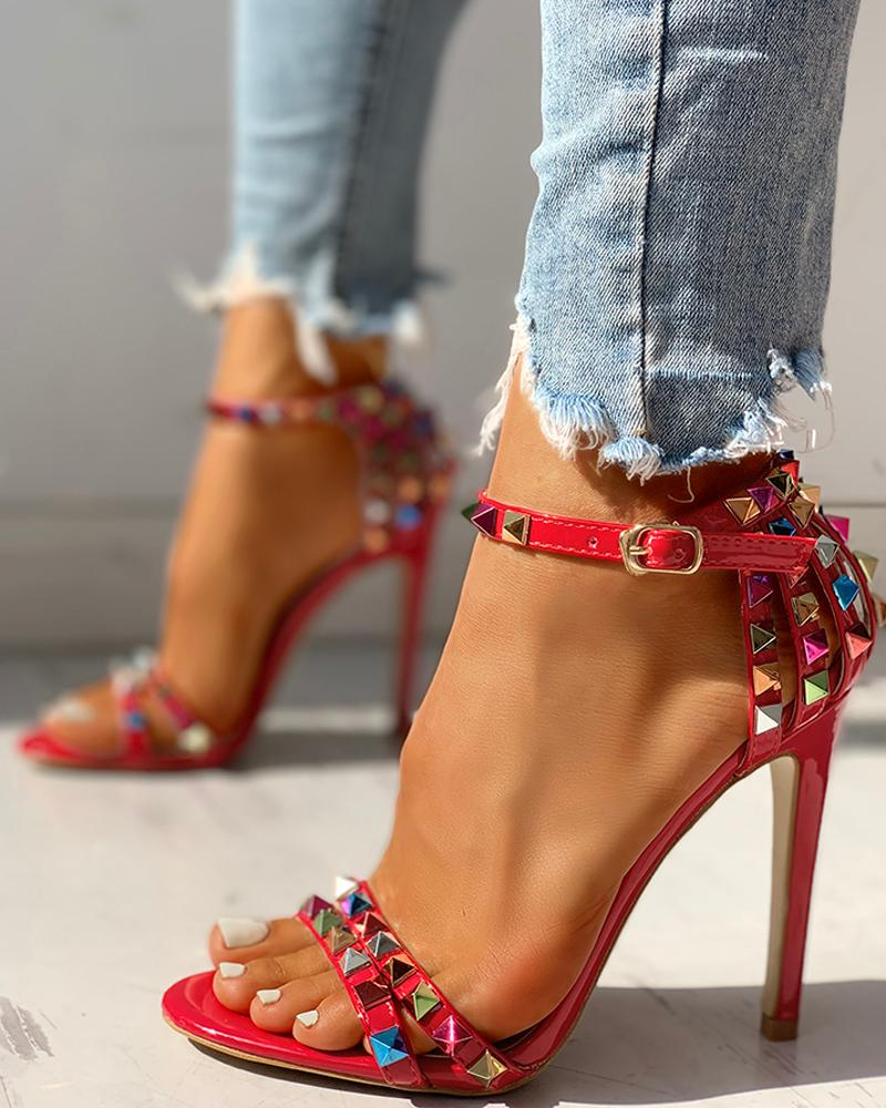 Glitter Studded Ankle Buckled Thin Heeled Sandals