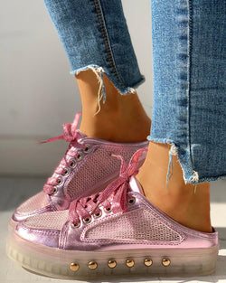 Rivet Mesh Patchwork Lace-Up Eyelet Sneakers