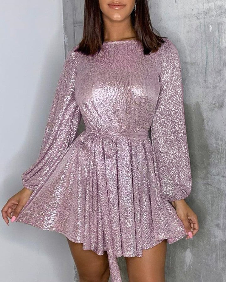 Glitter Long Sleeve Tie Waist Sequins Dress
