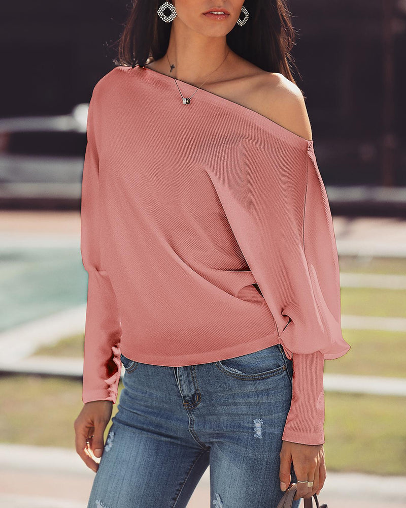 Skew Neck Batwing Sleeve Casual Top