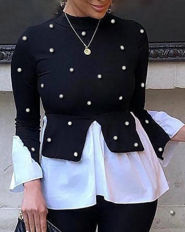 Beaded Colorblock Insert Ruffles Long Sleeve Blouse