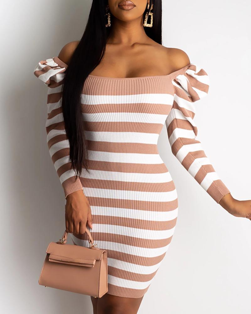 Striped Puffed Sleeve Sweater Dress