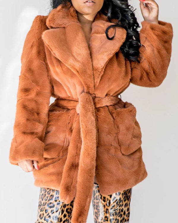 Solid Notched Collar Pocket Design Long Sleeve Fur Fluffy Coat
