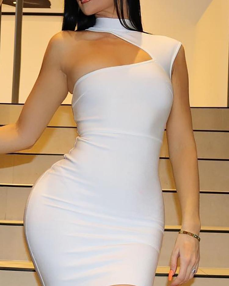 One Shoulder Cut Out Bodycon Dress