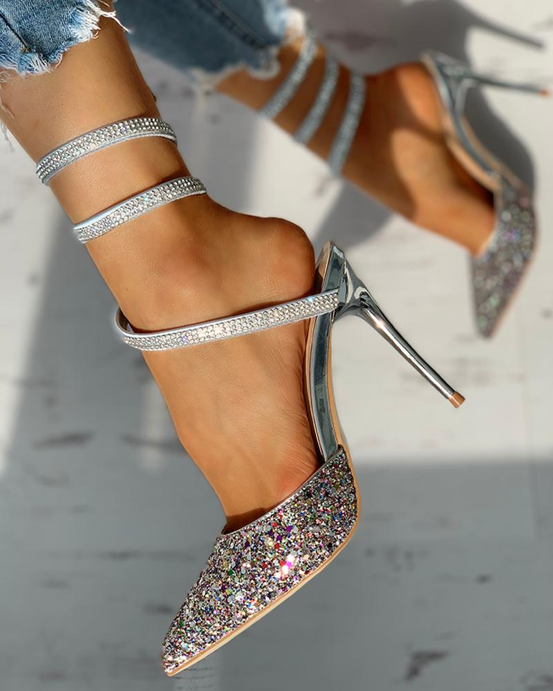 Glitter Pointed Toe Sequins Multi-strap Slingback Thin Heeled Sandals