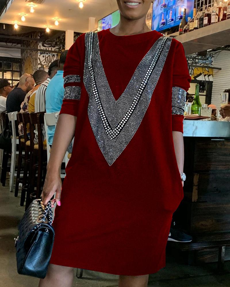 Hot Stamping Round Neck Long Sleeve Dress