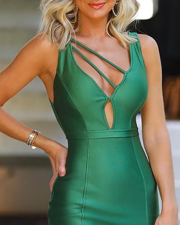 Solid Thin Strap Cut Out Bodycon Dress