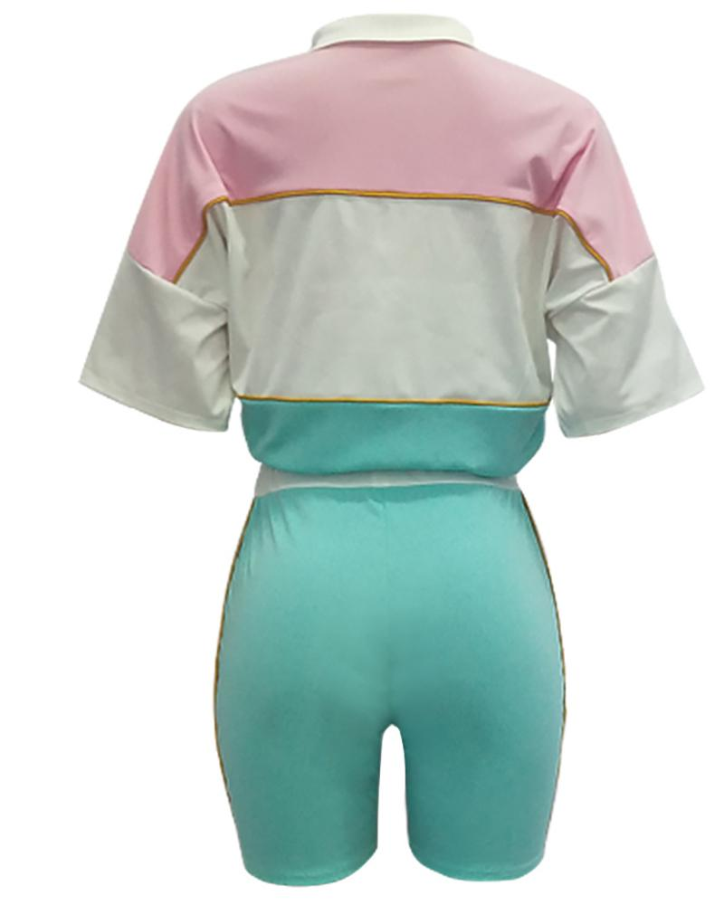 Short Sleeve Colorblock Crop Top & Short Set