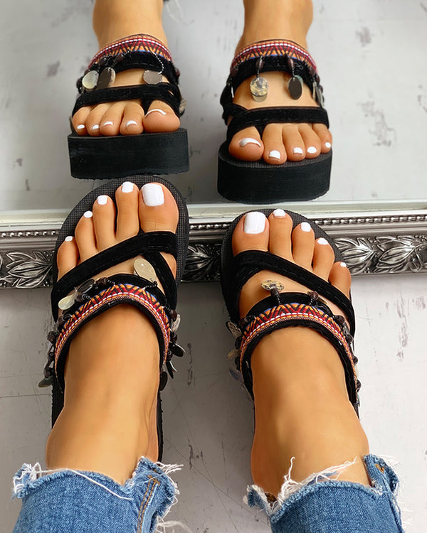 Ethnic Multi Strap Slipper Sandals