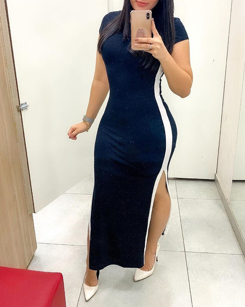 Striped Tape Insert Slit Bodycon Dress