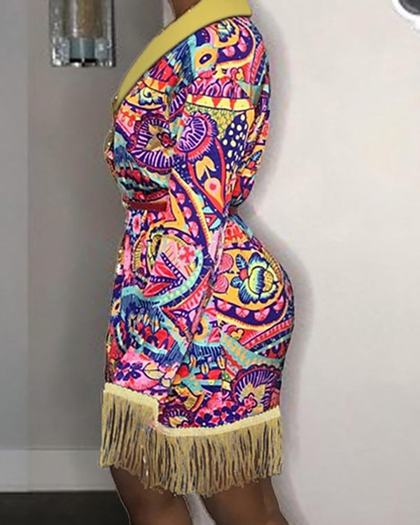 Notched Collar Multicolor Ethnic Print Tassel Design Blazer Dress